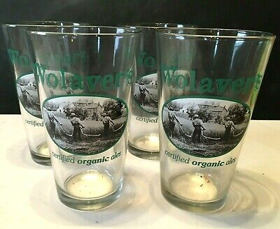 Set of (4) FOUR WOLAVER'S Certified Organic ALE Pint BEER Glasses New Never Used