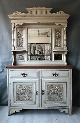 Art Nouveau mahogany mirrored sideboard dresser victorian upcycled painted