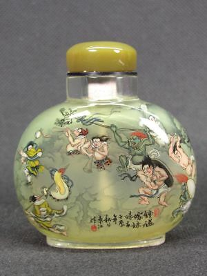 "Eximious Chinese ""Zhong Kui "" Inside Hand Painted Man Made Crystal Snuff Bottle"