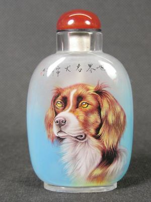 Chinese Two Dog Inside Hand Painted Man Made Crystal Snuff Bottle:Gift Box