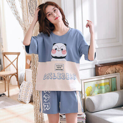 Summer Women's Pajama Set Knit Cotton Nightwear Short Sleeve Sleepwear Homewear