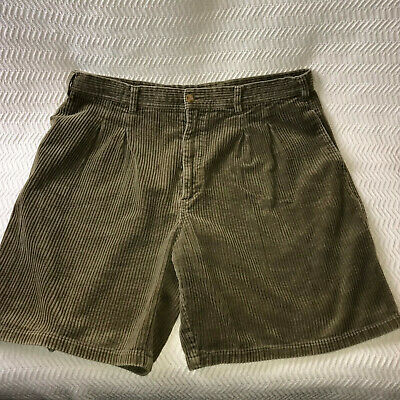 Half Moon Bay Mens 38 Vintage Corduroy Shorts Olive Drab Cotton Pleated Front