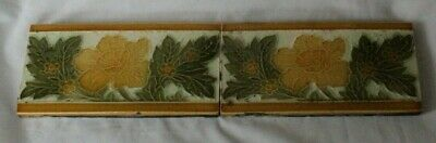Charming English Pair Of 6 By 3 Inch Border Floral Art Nouveau Tiles Circ 1890S