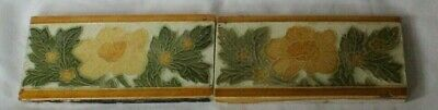 English Pair Of 6 By 3 Inch Border Floral Art Nouveau Tiles Circ 1890S