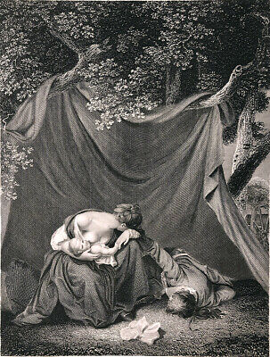 MOTHER BREASTFEEDING BABY CRIES, SOLDIER HUSBAND DEAD ~ 1843 Art Print Engraving