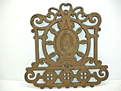 Vintage, Antique Ornate Cast Iron Metal Plaque, Architectural Salvage 13 X 13 In