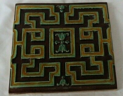 Probably Continental French Majolica Large 8 Inch Tile Chinese Style 19C D