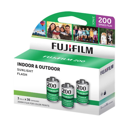 Fujifilm Fujicolor 200 Color Negative Film, 35mm Roll Film, 36 Exposures, 3 Pack
