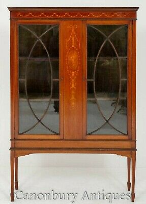Sheraton Revival Display Cabinet - Mahogany Inlay 1880