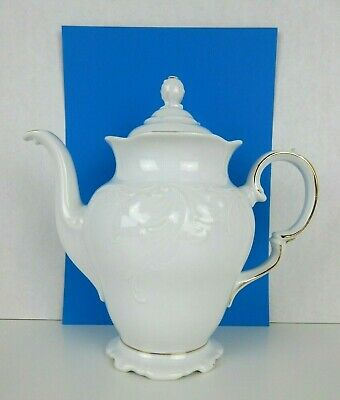 """Royal Kent Collection Poland Tea Pot Coffee Pot 9"""" Tall Gold Trim White With Lid"""
