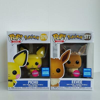 New Funko Pop Pokemon Flocked Eevee 577 Pichu 579 Figure Set Wonderous Exclusive