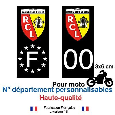 Stickers autocollant plaque d'immatriculation RCL Lens foot moto Fond noir