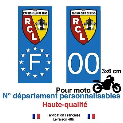 Stickers autocollant plaque d'immatriculation Lens RCL foot moto Fond bleu GB