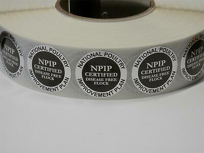 HATCHING EGGS NPIP CERTIFIED DISEASE FREE FLOCK SEAL 1.5 circle sticker 250/roll
