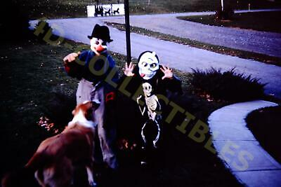 Original slide photo 1960s Kodachrome Halloween Costumes Skeleton Clown