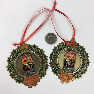 BNSE Train Christmas Wreath Ornament 7701 Holiday Express Lot of 2 Set Metal ST1