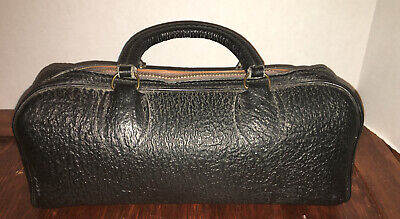STEAMPUNK Antique Doctors Bag Black Hard Leather Travel VTG Tote Talon Zipper