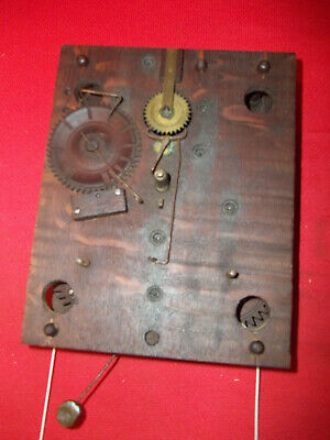 Nice Looking Old Original  Wood Wooden Works Weight Clock Movement  !