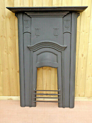Vintage Cast Iron Fireplace Front with Wooden Mantle- Large