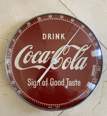 Vintage 50's Drink Coke Sign of Good Taste Coca-Cola Pam Glass Thermometer