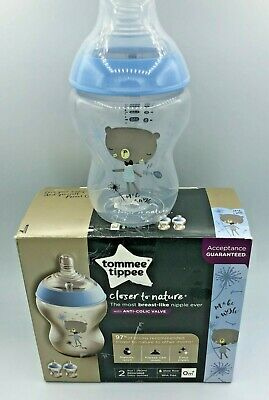 Tommee Tippee Closer to Nature Color Baby Bottles 9 Oz 3Pk- Blue Design