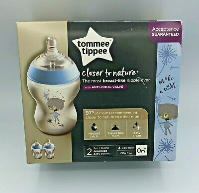 Tommee Tippee Closer to Nature Color Baby Bottles 9 Oz 2Pk- Blue Design