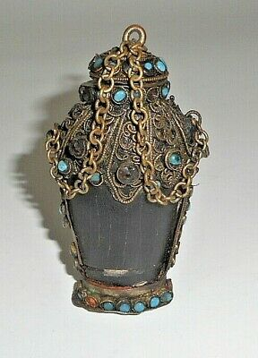 Antique black stone Snuff bottle with filligre accents, turquoise, & coral deco