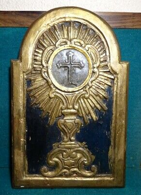 Antique 18th Century GILDED CARVED WOOD PANEL w/ HOLY MONSTRANCE 252x392mm