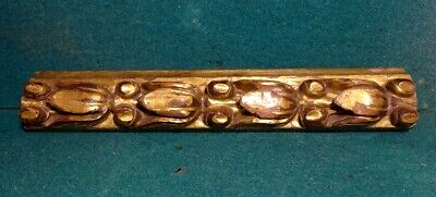 Antique 18th Century GILDED CARVED WOOD FRAGMENT w/ LEAVES 54x320mm