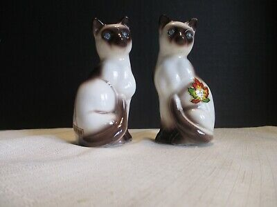Siamese Cats Blue Eyes Salt and Pepper Shaker Brown and Beige made Lepton Japan