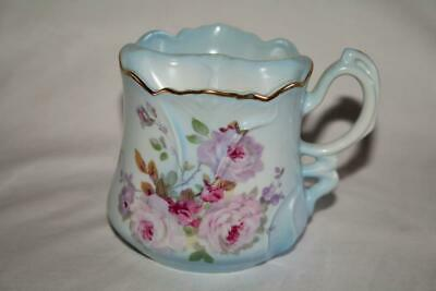 Nippon Hand Painted Pink Floral Reproduction Moustache Shaving Mug Cup  #1509