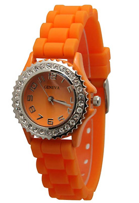 Silicone Watch Unisex Crystals Rhinestones Wrist Watch Small Size Dial