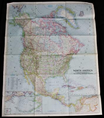 The National Geographic Society Map Of North America March 1952 Vintage