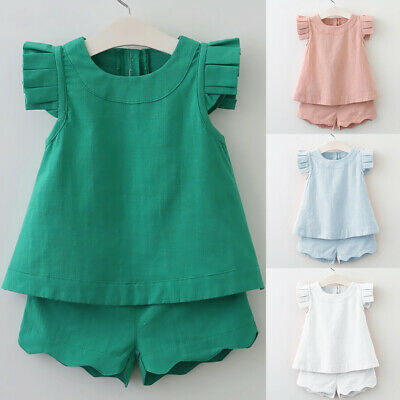 2Pcs Toddler Baby Sweet Girls Outfits Sleeveless Tops Shirt Vest Shorts Kids Set