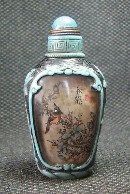 Chinese Glass Delicate Inside-drawing Longevity Bird Snuff Bottle=**-