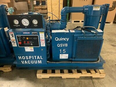 15 HP Quincy Rotary Screw VACUUM System, Air Cooled, 460V, USED