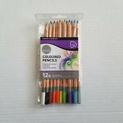 Daler-Rowney Simply Coloured Color Pencils 12 Assorted Easy Grip NEW