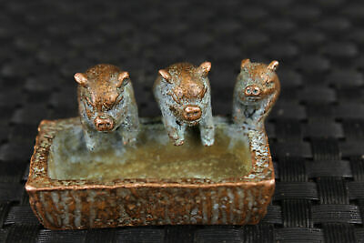 old bronze Handcarved casting lovely three pig statue figure collectable