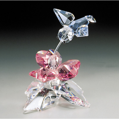 Crystal World Hummingbird Flower Figurine New In Box