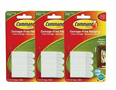 Command Picture Hanging Strips Small White 8-Strips Each 3 pack