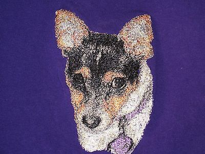 Embroidered Ladies Short-Sleeved T-Shirt - Rat Terrier AED16220