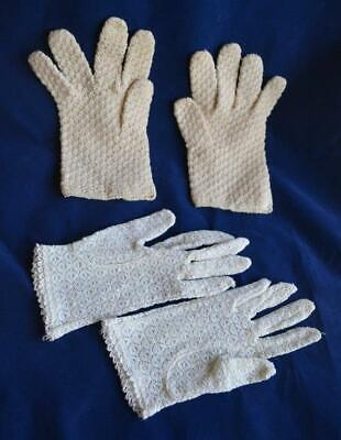 2 Pair Vintage Women's Gloves Knit Lace Theater Costume Retro Shabby Chic