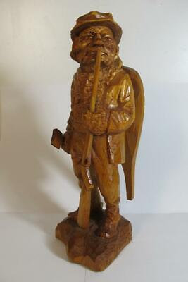 "Vintage Julien Bourgault Wood Carving Sculpture ""The Trapper"" Hunter"""
