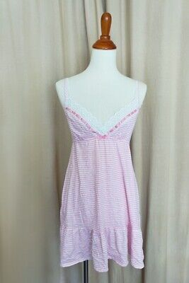 $76 ~Victoria's Secret~ Lace Slip Nightie Babydoll Chemise - Pink Stripe S/P