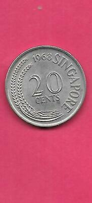 SINGAPORE KM4 1968 UNCIRCULATED-UNC MINT LARGE OLD VINTAGE 20 CENTS fish COIN
