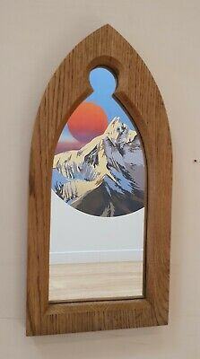 Gothic Arch Solid Wooden English Oak Keyhole Mirror 40 cm long Hand Made