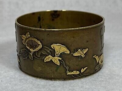 Antique Japanese Meiji? Mixed Metal Signed Napkin Ring Bronze Gold Copper RARE