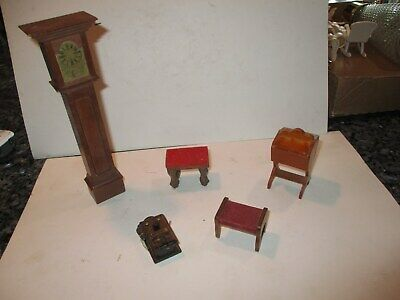Five piece Wood Dollhouse Minatures including Grandfather clock, Sewing Basket,