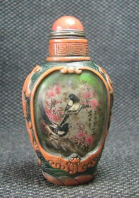 Chinese Glass Delicate Inside-drawing Magpie Snuff Bottle/////******