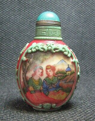 Chinese Glass Traditional Hand Painted Woman Snuff Bottle******